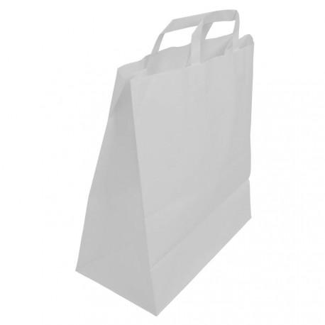 Sachet Kraft blanc avec poignées plates 20 x 10 x 28 cm